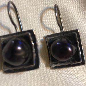 Silpada Freshwater pearl purple earrings
